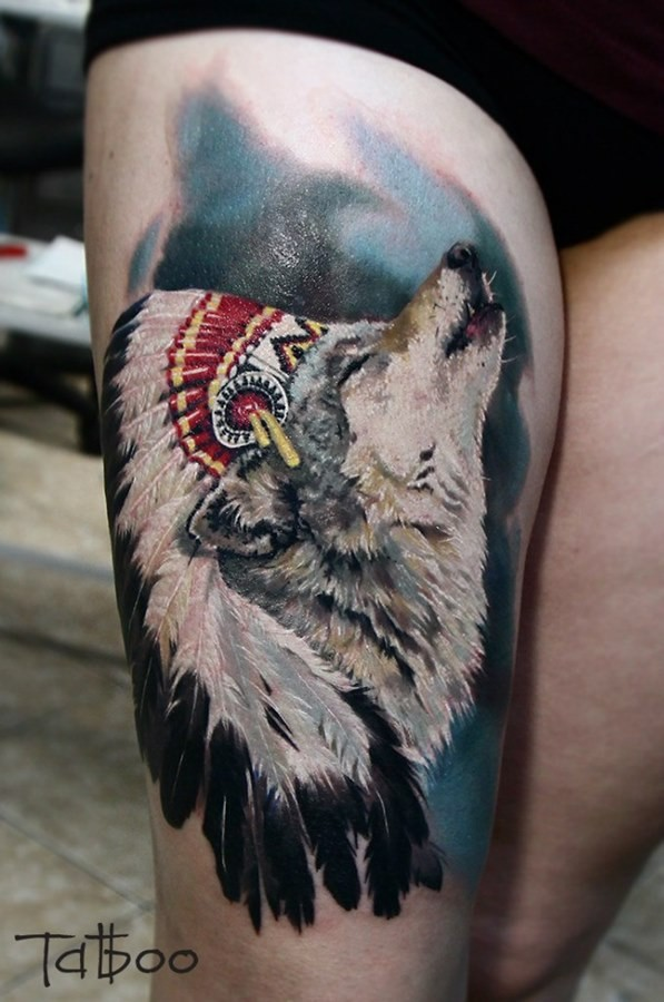 Detailed and colored realism style thigh tattoo of wolf in Indian helmet