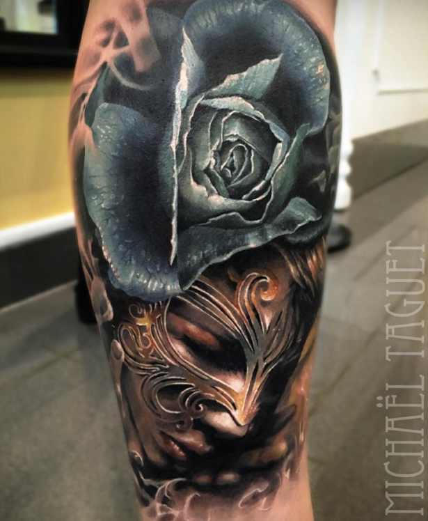 Detailed big colored leg tattoo of mystical woman with rose and mask