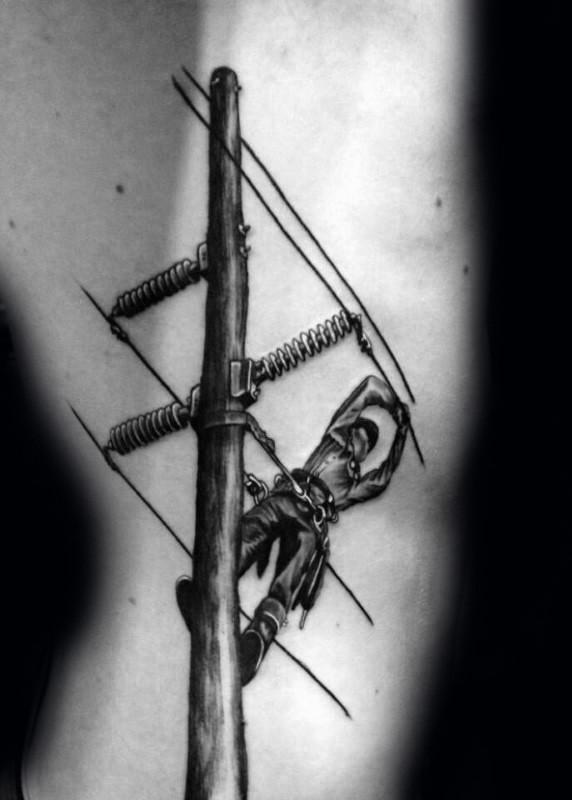 Detailed black ink arm tattoo of lineman worker