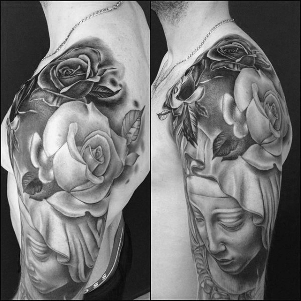 Detailed black ink shoulder tattoo of woman with roses
