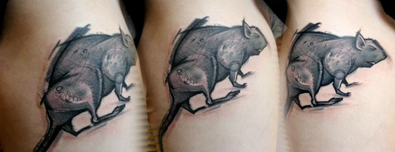 Detailed black ink tattoo of large rat