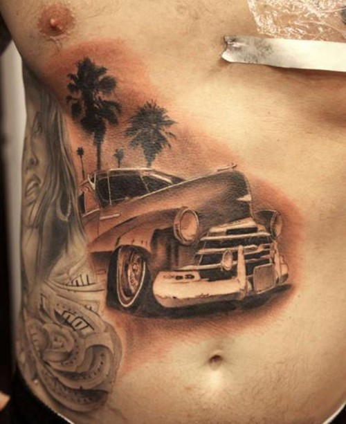 detailed car and palms tattoo on ribs. Black Bedroom Furniture Sets. Home Design Ideas