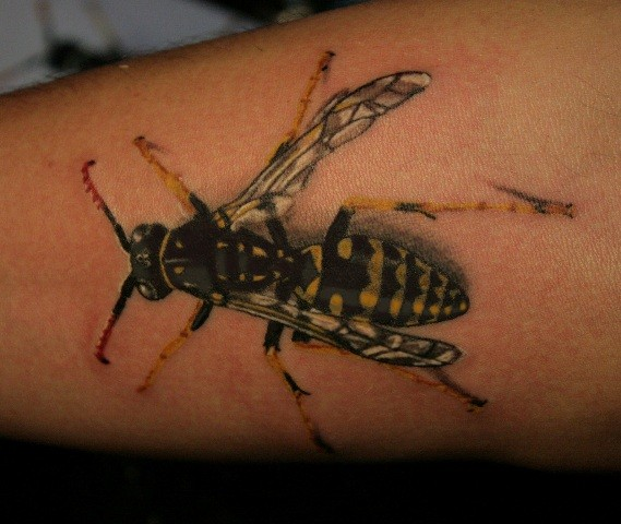 Detailed colorful bee tattoo on arm
