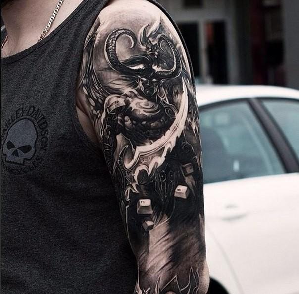 Detailed incredible looking shoulder tattoo of of fantasy demonic warrior