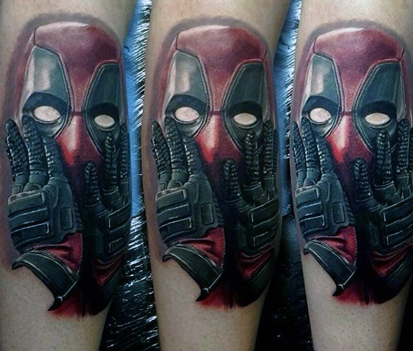 Detailed large awesome looking Deadpool portrait tattoo