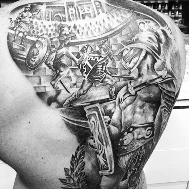Detailed looking black and white whole back tattoo of massive gladiator fight