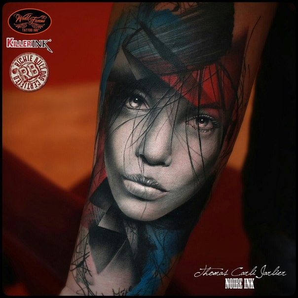 Detailed looking colored arm tattoo of cute woman