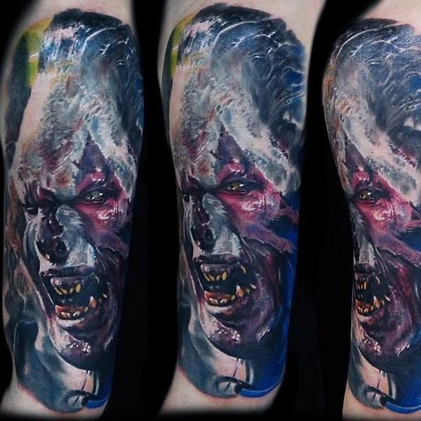 Detailed looking colored tattoo of orc face from Lord of the Rings