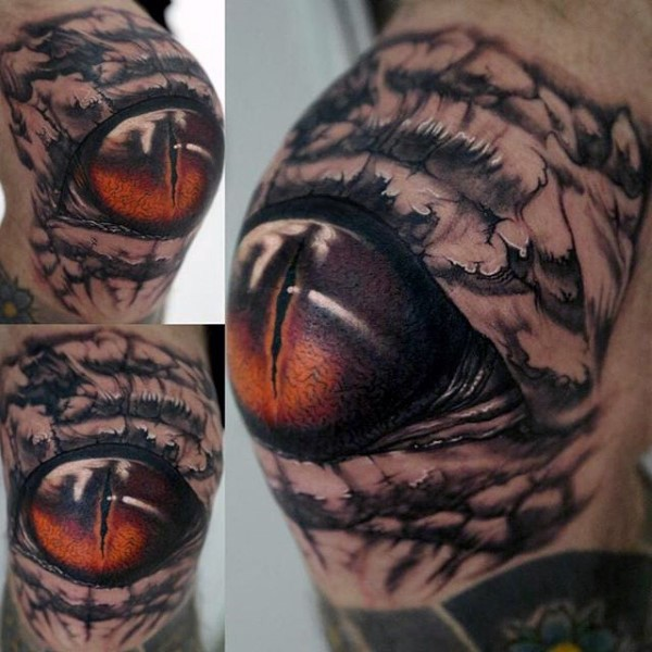 Detailed realism style colored knee tattoo of alligator eye