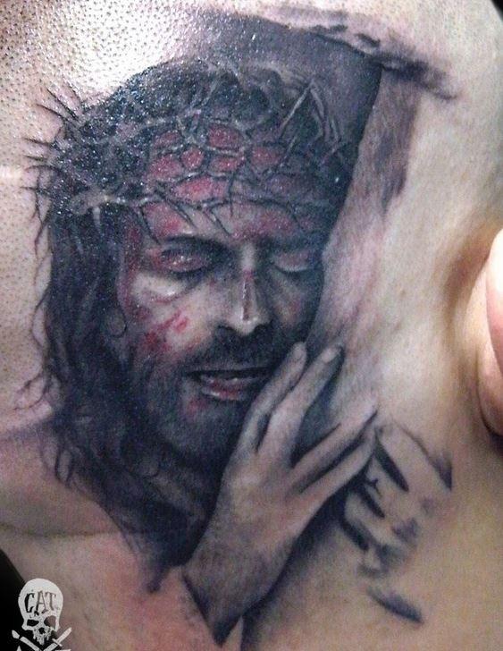 """detagliato ritrattorealistico di gesu"""" in corona di spine tatuaggio"""
