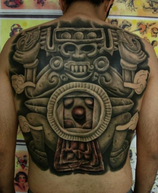 Detailed whole back tattoo of ancient sone statue