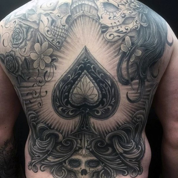 Did de Los Muertos themed massive black and white detailed tattoo on whole back