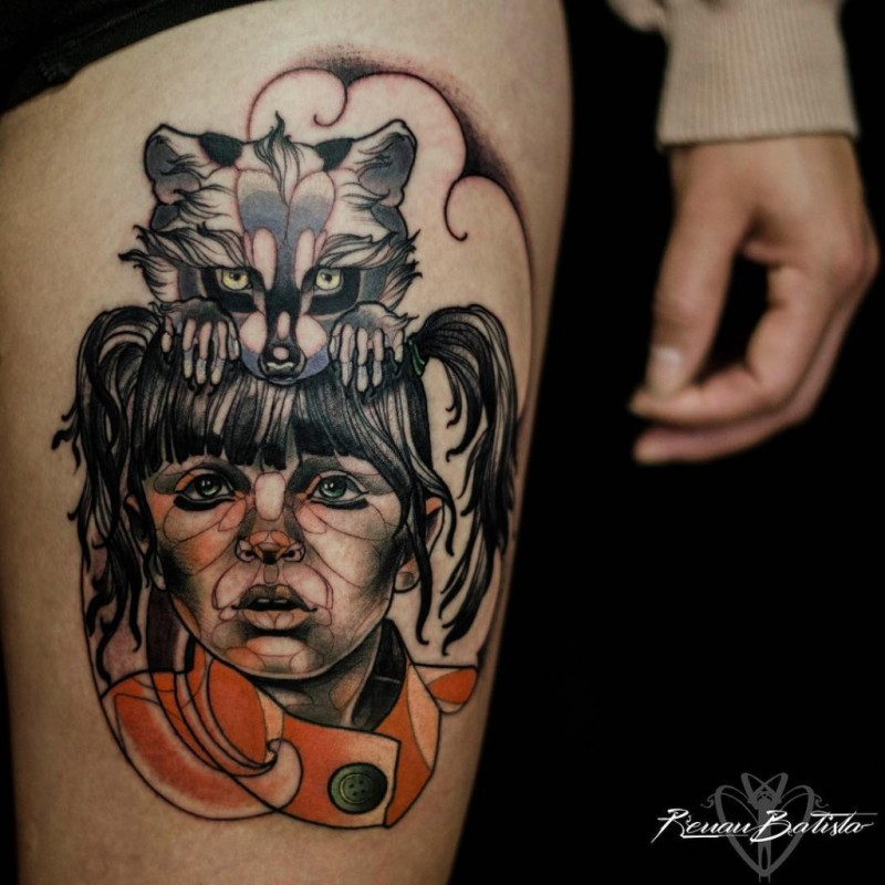 Doll like colored thigh tattoo of sad woman with raccoon