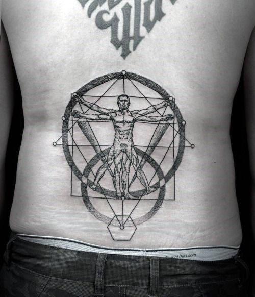 Dot style big lower back tattoo of strange looking Vitruvian man