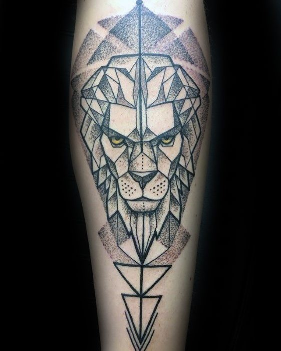Dot style black ink arm tattoo of lion with yellow eyes