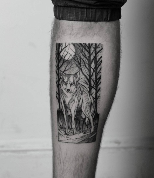 Dot style black ink beautiful looking wolf picture tattoo