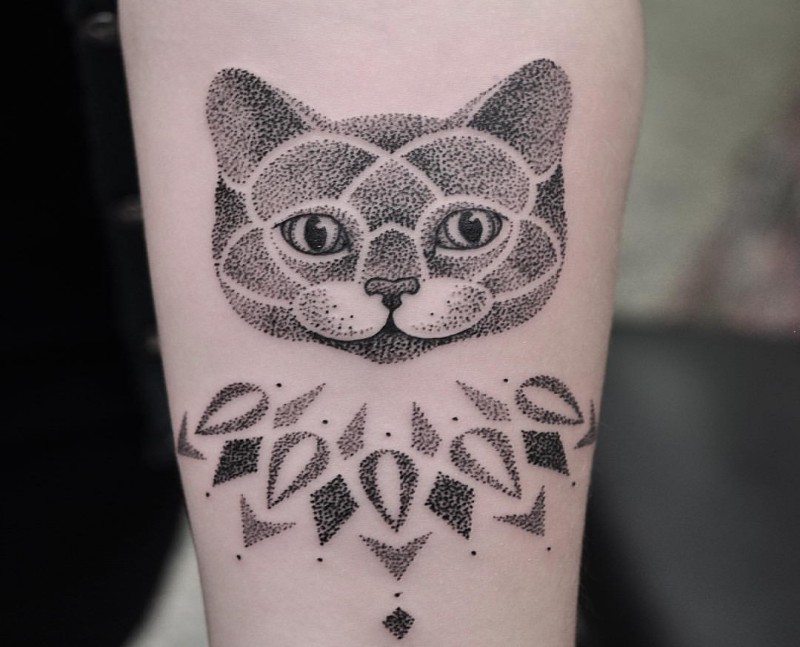 Dot style black ink for girls tattoo of cat with nice ornaments