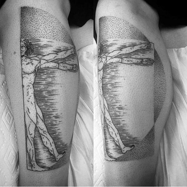 Tatuaggio gamba inchiostro nero stile Dot di metà uomo vitruviano