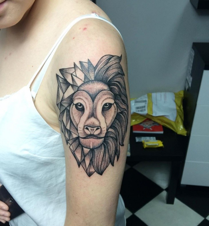 Dot Style Black Ink Shoulder Tattoo Of Big Lion Head Tattooimagesbiz