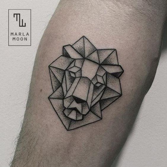 Dot Stil schwarze Tinte Tattoo von Stein wie Löwenkopf