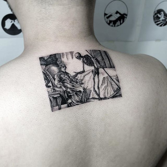 Dot style black ink upper back tattoo of creative picture