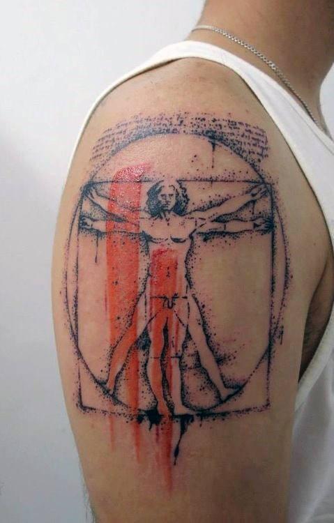 Tatuaggio del braccio superiore dall&quotaspetto fantastico, stile Dot, con linee rosse