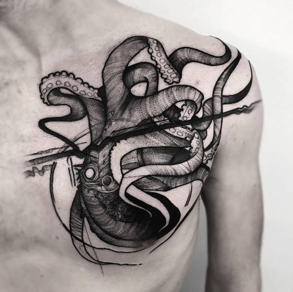 Dot style gorgeous looking creative chest and shoulder tattoo of large octopus