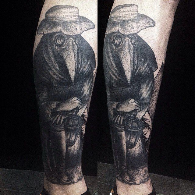 Dot style interesting looking leg tattoo of creepy plagued doctor with lamp