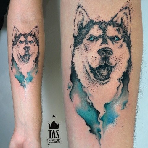 Dot style nice looking creative forearm tattoo of Husky dog with blue eyes