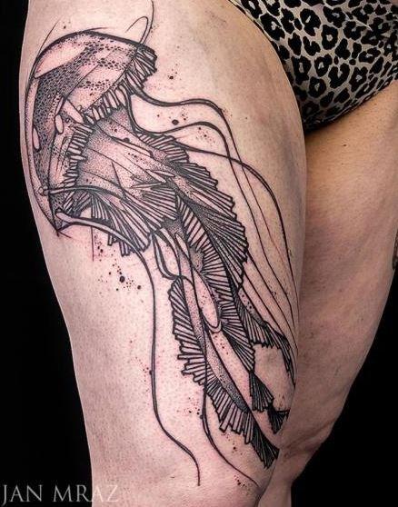 Dotwork black lines jellyfish tattoo on thigh