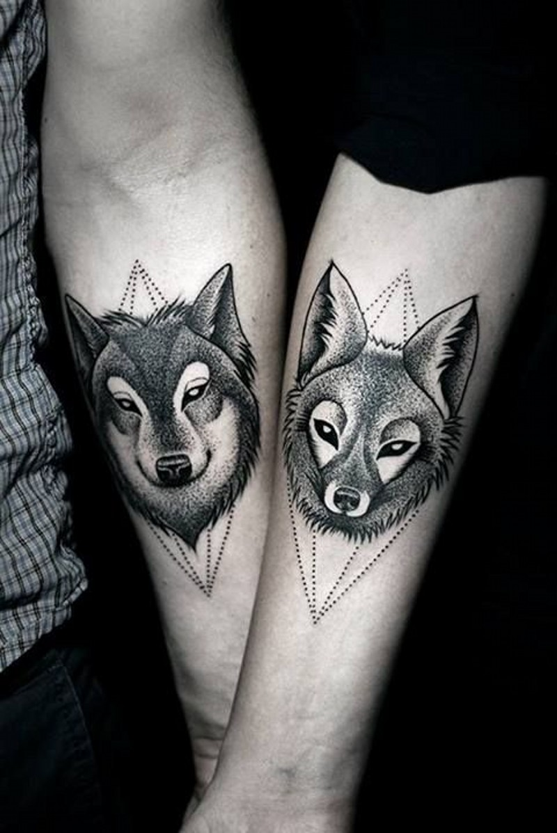 Indian with eagle and wolf tattoo on shoulder tattooimages biz - Dotwork Black Wolf And Fox Forearm Tattoo