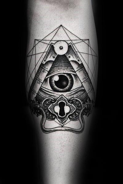 Dotwork-Stil schwarze Tinte Unterarm Tattoo des menschlichen Auges mit Schlüsselloch