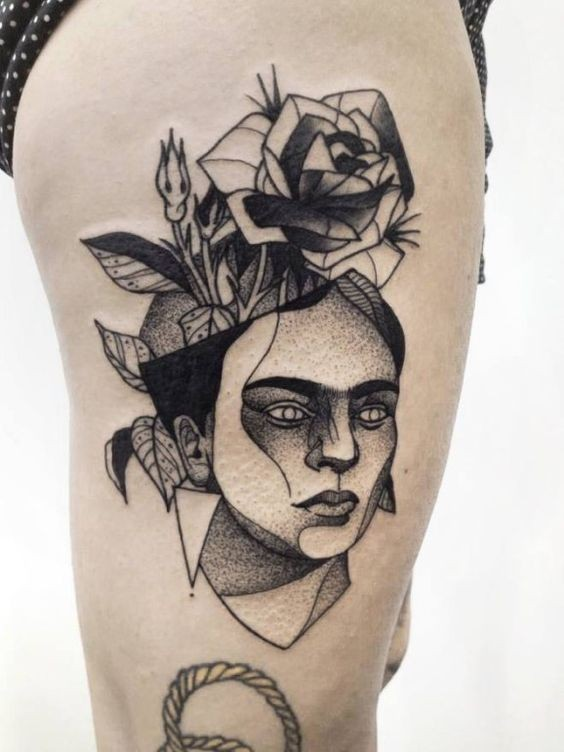 Dotwork style nice painted by Michele Zingales thigh tattoo of woman head with rose