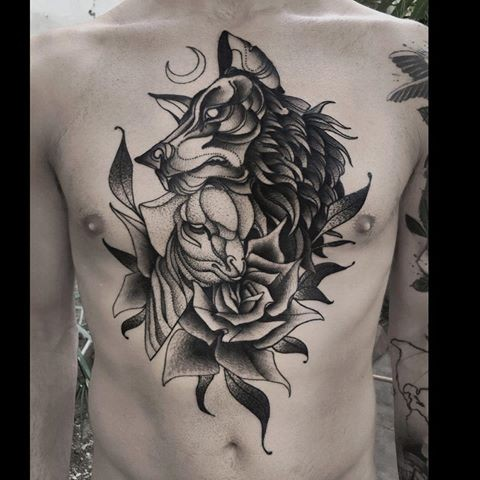 Dotwork style original combined chest and belly tattoo by Michele Zingales