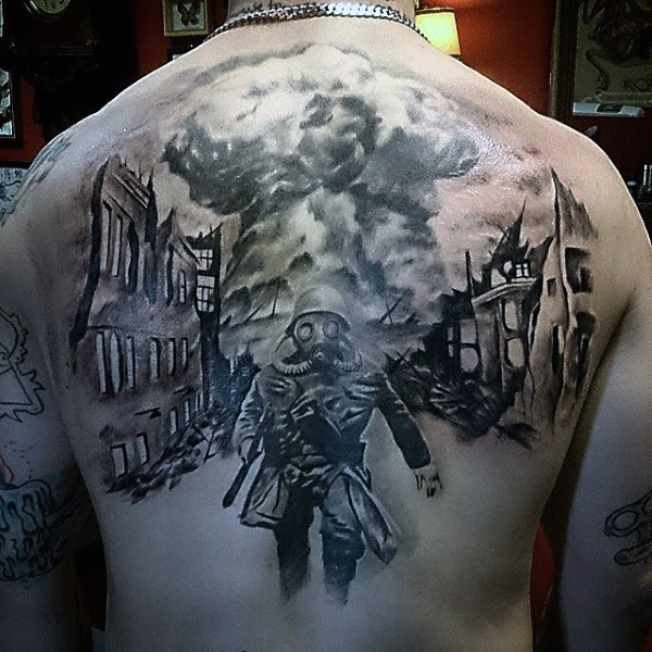 Dramatic designed black and white military tattoo on upper back