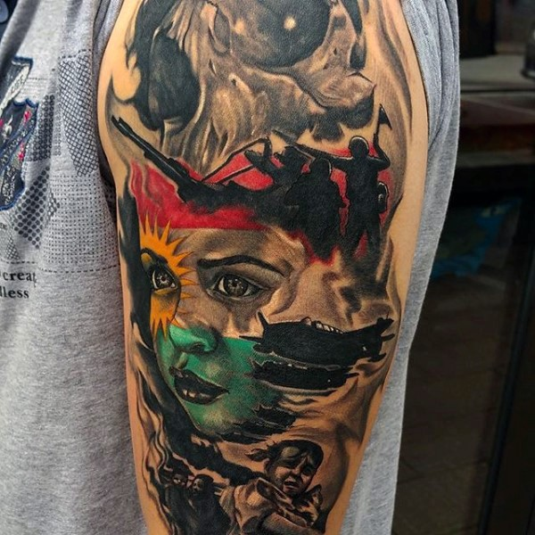 Dramatic multicolored war themed military tattoo on arm for Military sleeve tattoo