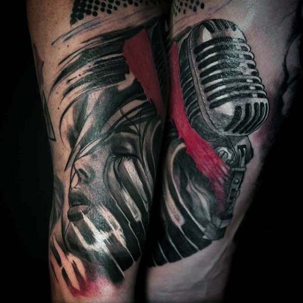 Dramatic multicolored woman singer with old style microphone tattoo
