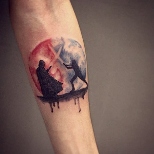 Dramatic Star Wars themed forearm tattoo with fighting Darth Vader and Jedi