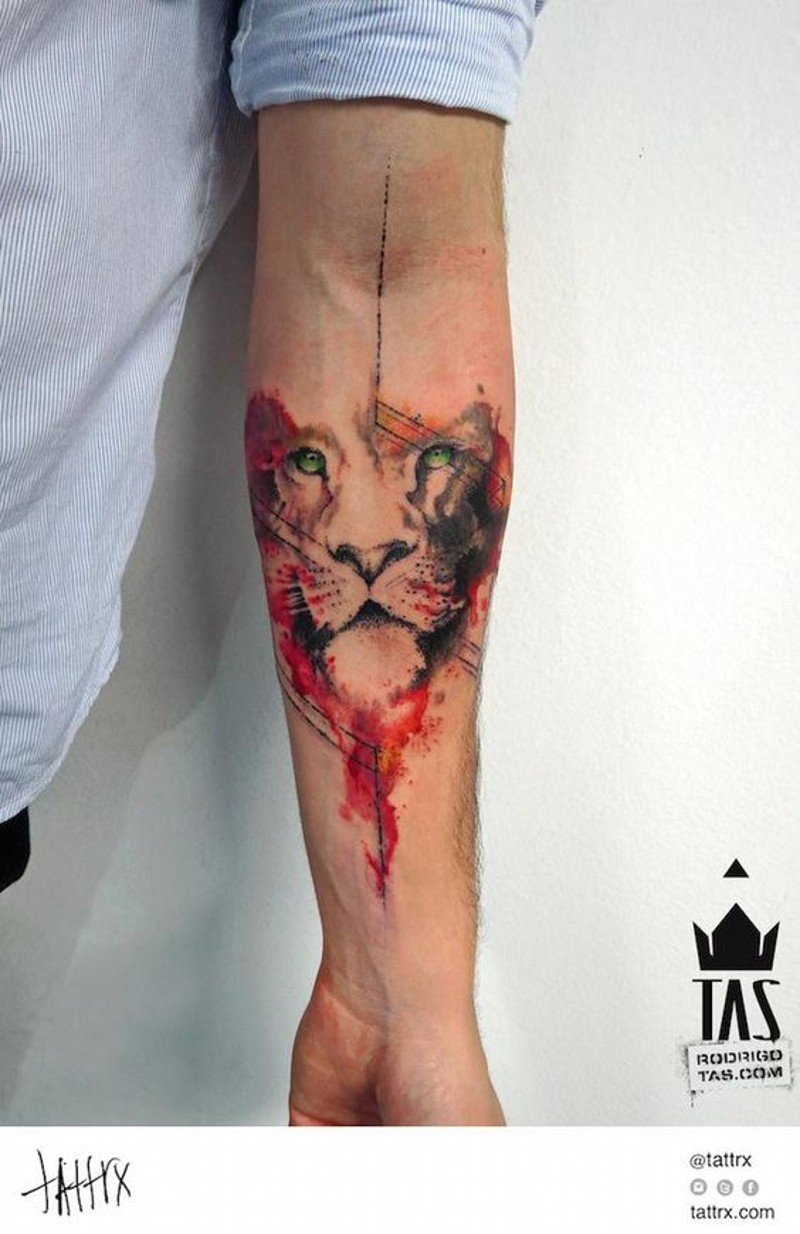 Dramatic style colored big lion face tattoo on arm