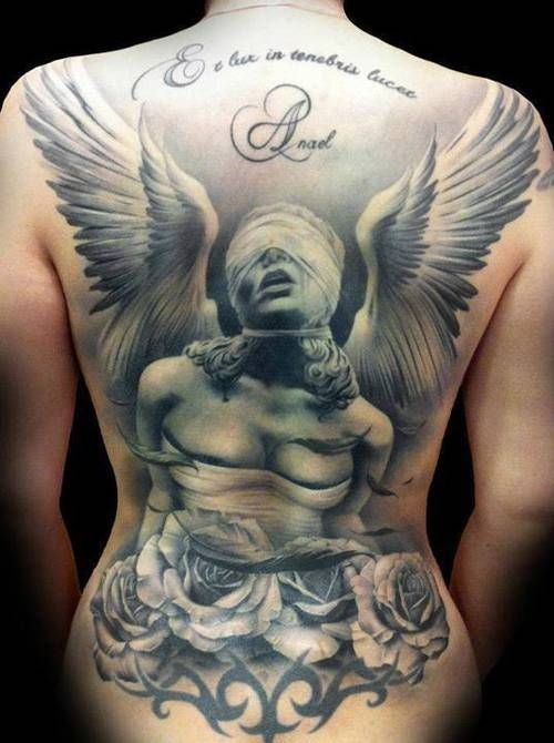 Dramatic style deigned and painted massive blind angel statue with flowers tattoo on whole back