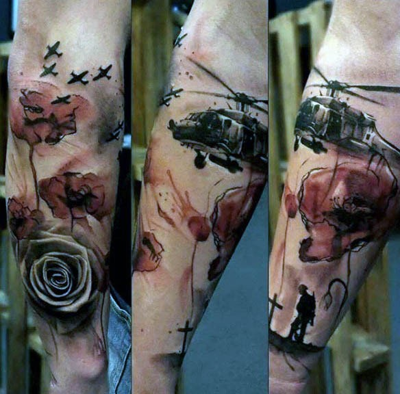 Dramatic style painted and colored military tattoo with flower on sleeve