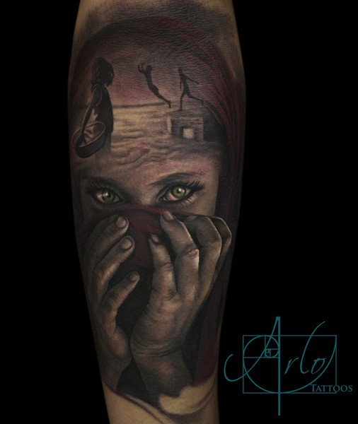 Dramatic style painted black ink sad girl portrait tattoo on forearm stylized with mystical people
