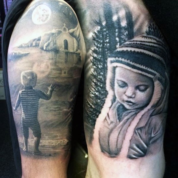 Dramatic Themed Very Detailed Black Ink Little Kids Tattoo