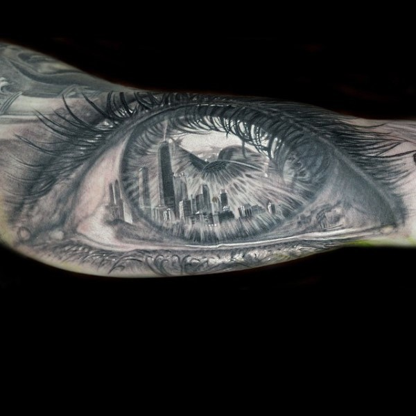 Dramaturgical 3D style very detailed human eye tattoo on forearm stylized with city sights