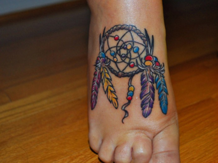 Dreamcatcher foot tattoos for women