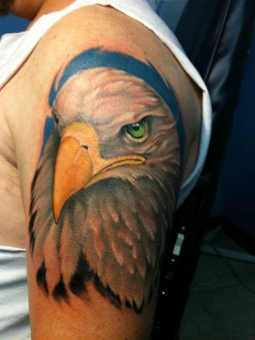 Eagles head on shoulder