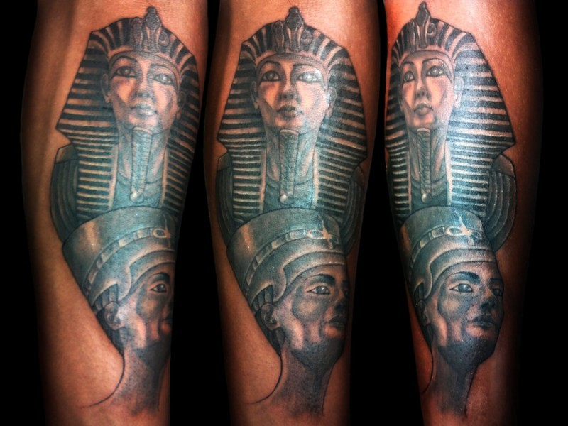 Egypt themed colored arm tattoo of Sphinx with ancient queen