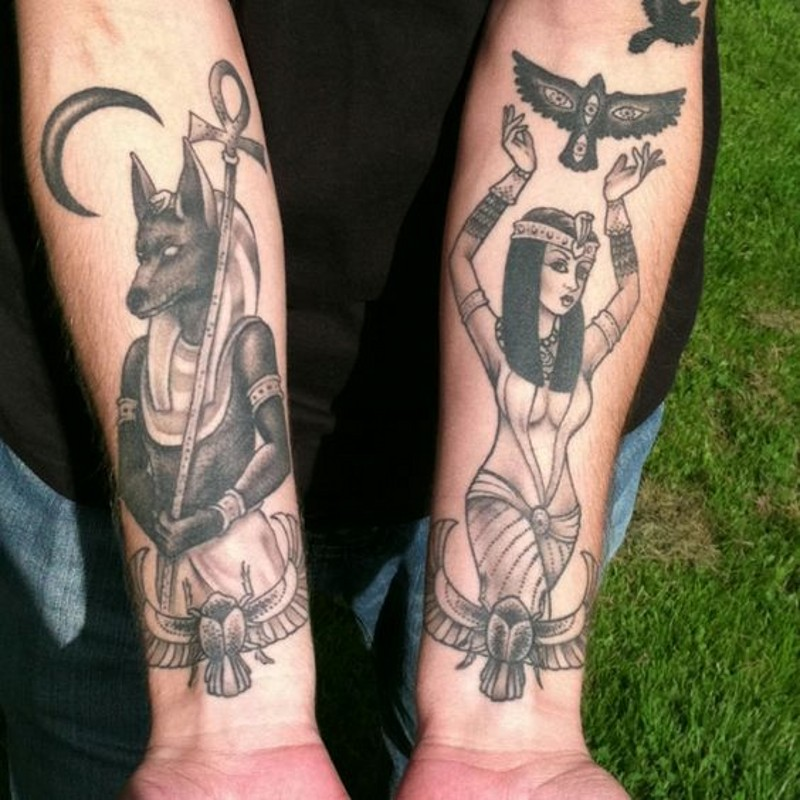 Egypt themed nice painted Gods tattoo on arms