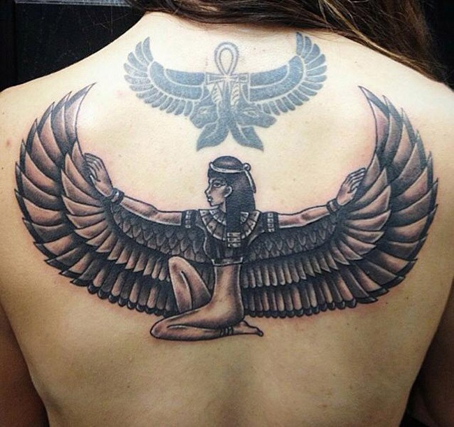 Egyptian goddess Maat with outstretched wings, winged Ankh symbol tattoo on back