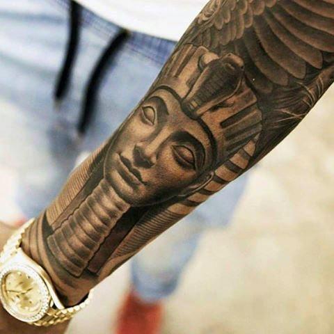Egyptian Pharaoh Tutankhamen sleeve tattoo